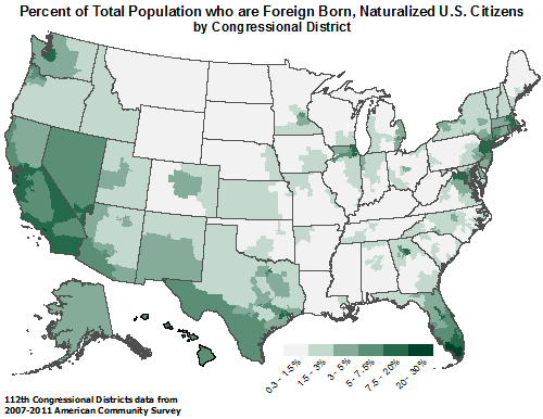 Map showing Percent of Total Population who are Foreign Born, Naturalized U.S. Citizens by Congressional District